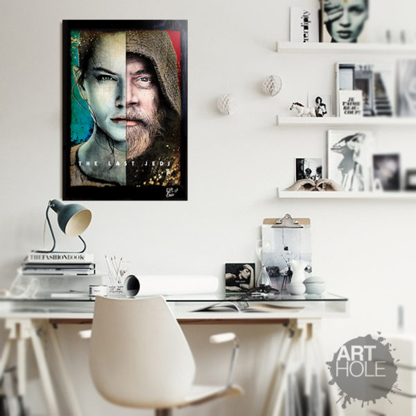 Last Jedi Star Wars Obi Wan and Rey original pop art poster handmade artwork