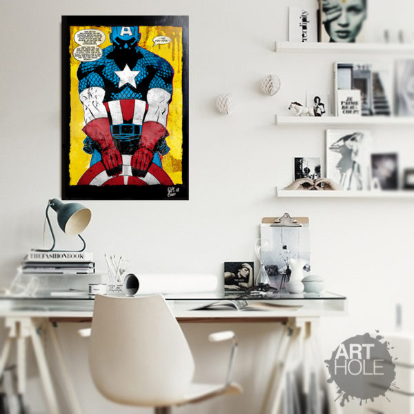Captain America Marvel Comics Pop Art Poster Artwork Handmade