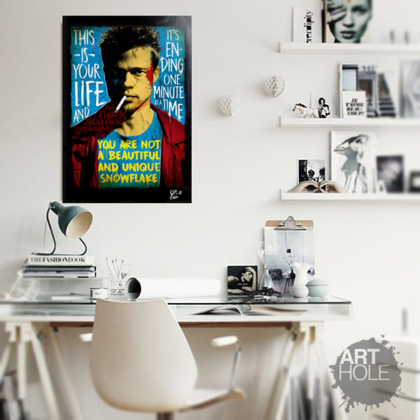 Fight Club Tyler Durden (Brad Pitt) Pop Art Poster Original Handmade