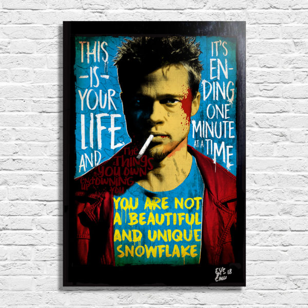 Tyler Durden Brad Pitt from Fight Club Pop Art Original Handmade Poster