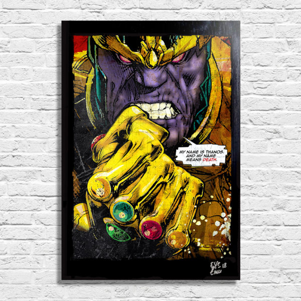 Avengers Infinity War Thanos gauntlet pop art poster artwork handmade comic