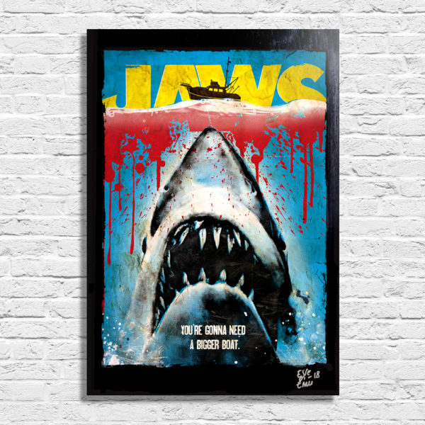 Jaws Lo Squalo Movie by Steven Spielberg Pop Art Poster Quadro Handmade Popart