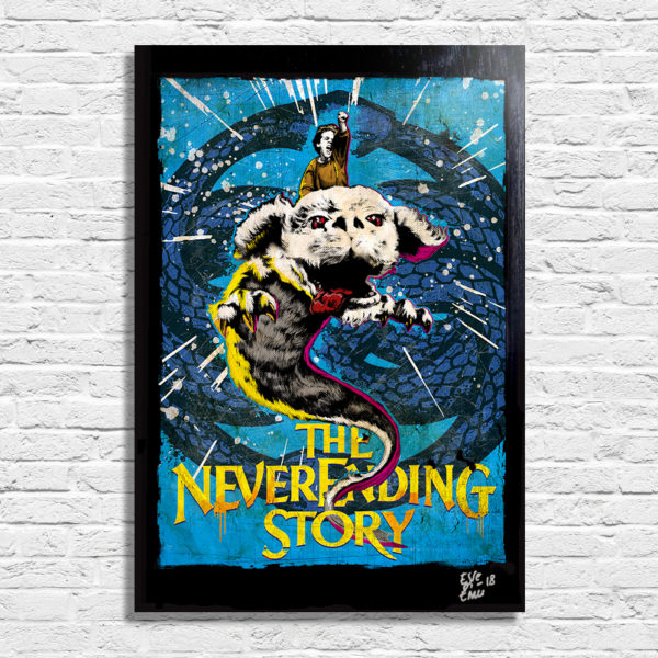 Bastian and Falkor The NeverEnding Story Pop Art Poster Original Artwork quadro la Storia Infinita handmade