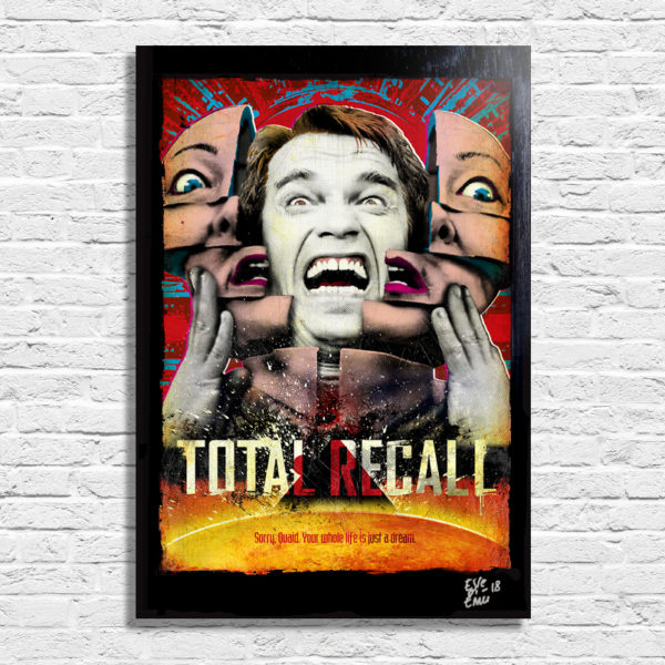 Arnold Schwarzenegger Total Recall Atto di Forza Movie Poster Pop Art Quadro Handmade