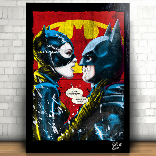 Catwoman and Batman kiss Tim Burton's Batman Returns movie Pop-Art Poster Handmade Artwork Quadro Pop Art Selina Kyle bacio