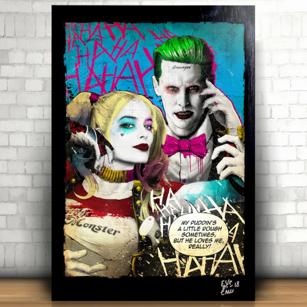 Harley Quinn and Joker Suicide Squad movie Pop-Art Poster Original Artwork Quadro Handmade Jared Leto Margot Robbie