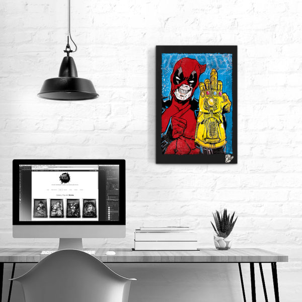 Deadpool Marvel Comics Pop-Art Original Poster Handmade Quadro Fumetto Infinity Gauntlet Avengers Guanto