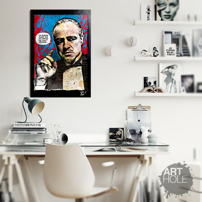 Don Vito Corleone from The Godfather Movie, Pop-Art Original Framed ...