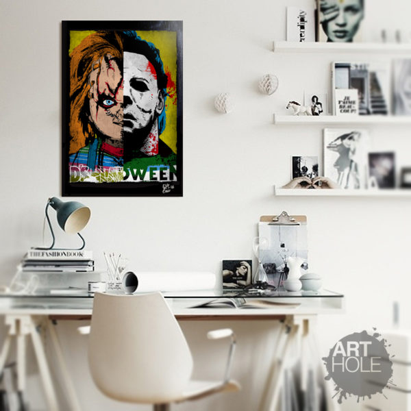 Chucky from Child's Play and Michael Myers from Halloween Pop Art Horror Poster