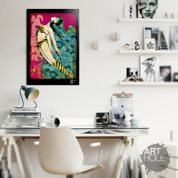 Lamu / Lum from Urusei Yatsura anime. Original Pop Art Poster Artwork. Quadro Handmade.