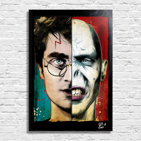 Harry Potter and Lord Voldemort Pop Art Movie Poster Handmade