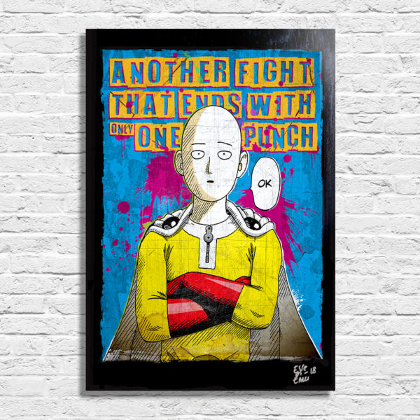 Saitama from One Punch Man Pop Art Poster Artwork Handmade, Anime Manga