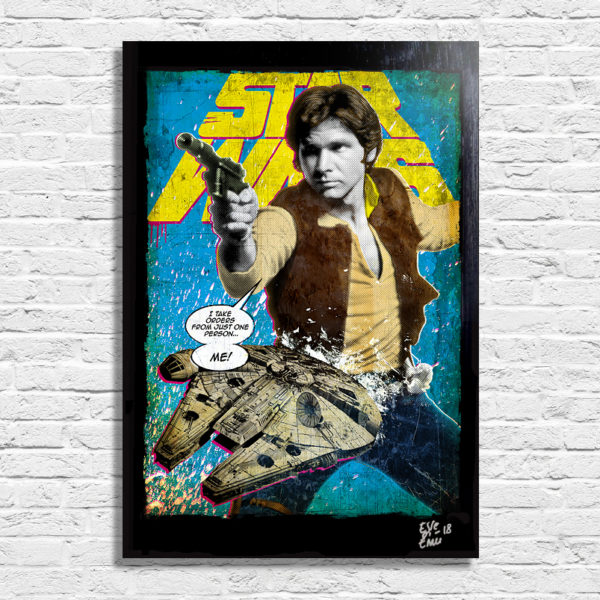 Han Solo (Harrison Ford) from Star Wars original pop art poster handmade artwork poster by arthole.it