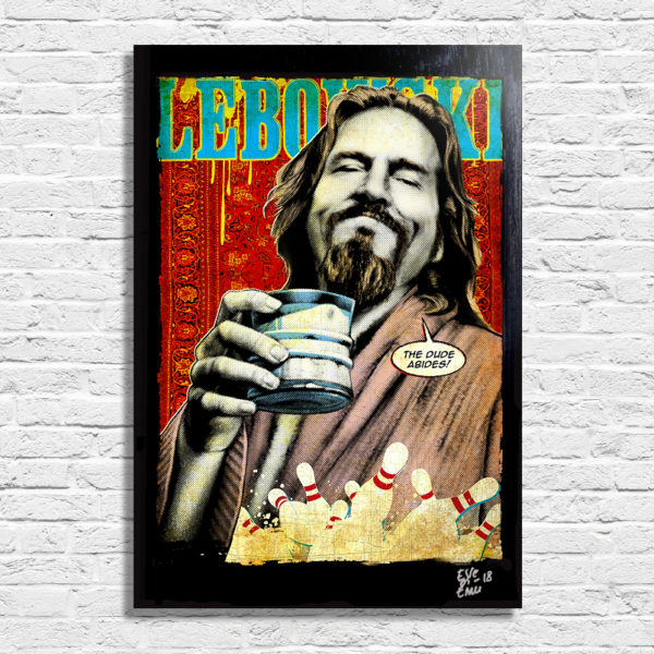 The Dude (Jeff Bridges) from The Big Lebowski Movie Pop Art Poster Original Handmade. Quadro del Drugo