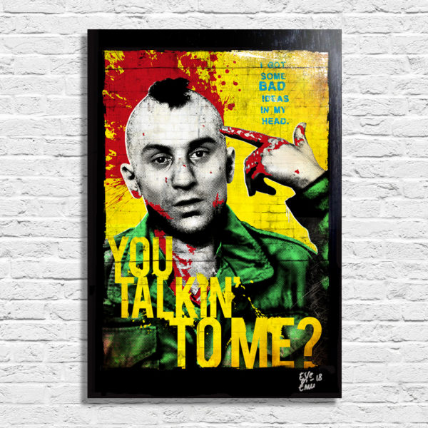 Travis Bickle from Taxi Driver Movie Pop Art Poster Original Handmade. Quadro Taxi Driver