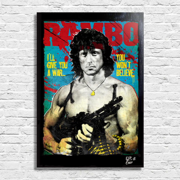 Sylvester Stallone from Rambo First Blood movie Pop Art Poster Quadro Original Handmade