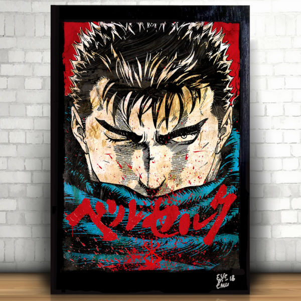 Gatsu Guts from Berserk Anime Manga Pop-Art Poster Handmade Quadro Kentaro Miura