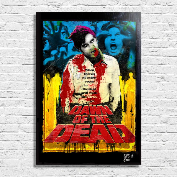 Dawn of the Dead Handmade Pop-Art Poster Quadro L'Alba dei Morti Viventi / Zombi Flyboy Horror