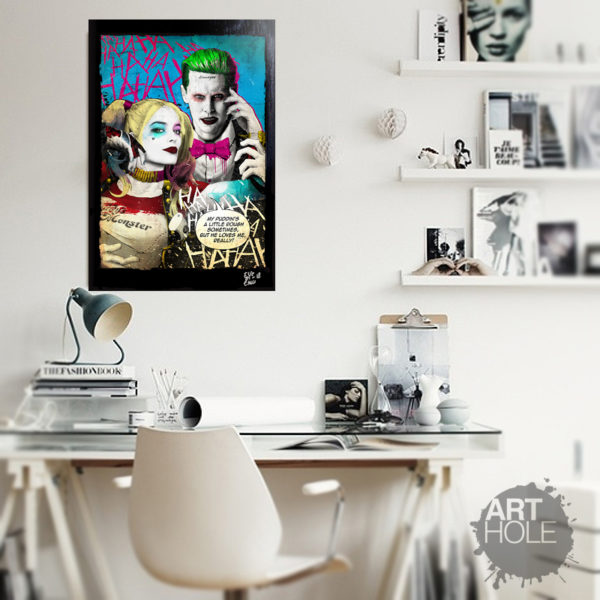 Suicide Squad Harley Quinn and Joker Pop-Art Poster Handmade Artwork Quadro Jared Leto Margot Robbie
