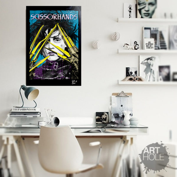 Johnny Depp Edward Scissorhands Tim Burton Pop-art Poster Handmade Quadro Pop-Art Edward Mani di Forbice