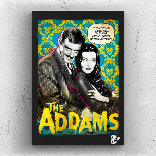 The Addams Family Gomez Morticia Pop-Art Poster Handmade Original Quadro Pop-Art