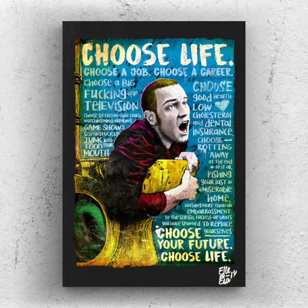 Mark Renton Trainspotting Movie Pop-Art Poster Original Artwork Quadro Handmade Trainspotting Toilet Danny Boyle Ewan McGregor
