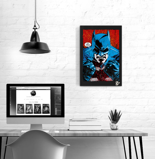 Angry Batman Dc Comics Pop-Art Original Poster Handmade Quadro Fumetto