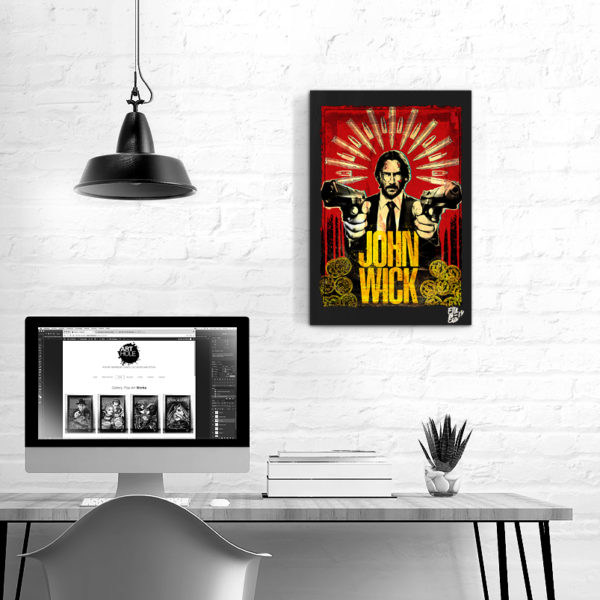 Keanu Reeves John Wick Movie Pop-Art Original Poster Handmade Quadro Fumetto Parabellum 2019