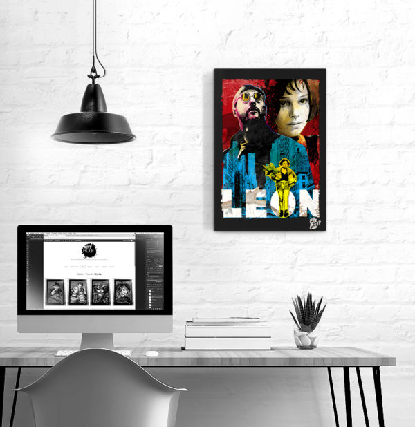 Leon and Mathilda Léon The Professional Movie Pop-Art Original Poster Handmade Quadro Jean Reno Natalie Portman Luc Besson Leon