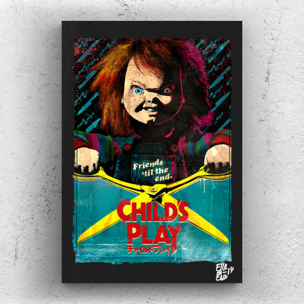 Chucky Doll from Child's Play Movie Pop-Art Original Poster Handmade Quadro Buddi La Bambola Assassina Horror