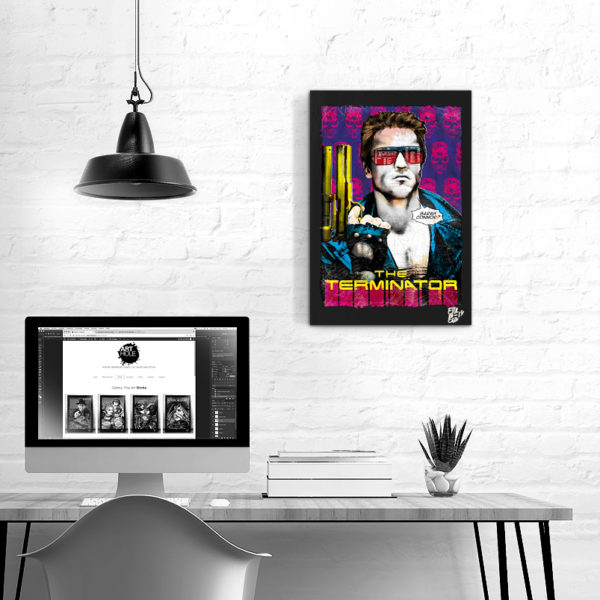 Arnold Schwarzenegger from The Terminator movie Pop Art Original Hadmade Poster Artwork James Cameron 1985