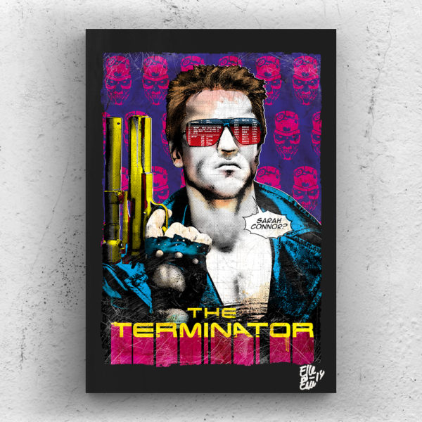 Arnold Schwarzenegger from The Terminator movie Pop Art Original Hadmade Poster Artwork James Cameron 1984