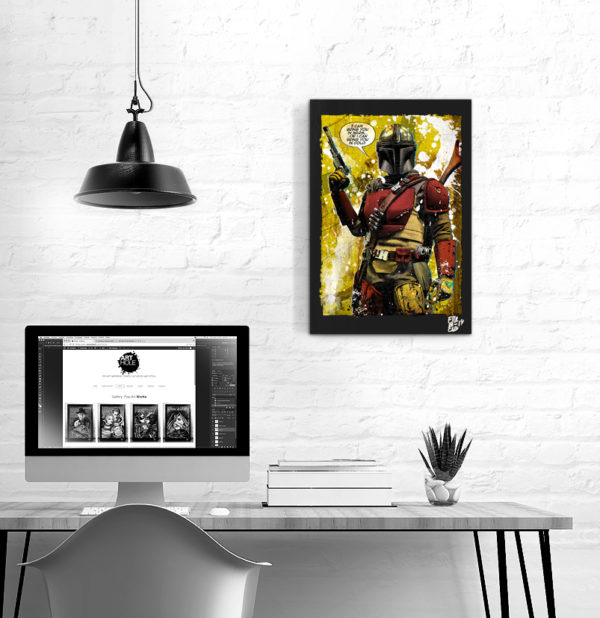 The Mandalorian, Pop Art Original handmade Poster Artwork Bounty Hunter Dyn Jarren Pedro Pascal Quadro