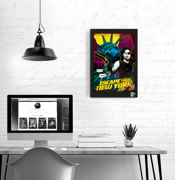 Escape from New York, Pop Art Original handmade Poster Artwork Kurt Russell Snake Plissken, 1981 John Carpenter Quadro Fantascienza, Science Fiction