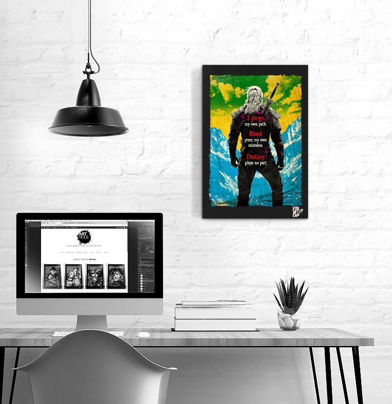 The Witcher, Pop Art Original handmade Poster Artwork Geralt of Rivia, Henry Cavill, Quadro Fantasy Netliflix 2019