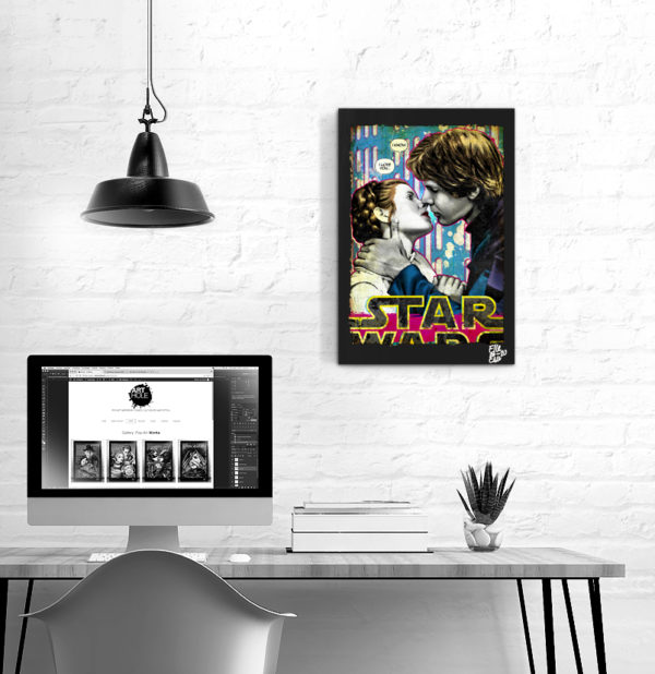 Han Solo and Princess Leia Kiss Pop Art Original handmade Poster Artwork 1980 Star Wars Movie Harrison Ford Carrie Fisher. I love you. I Know.