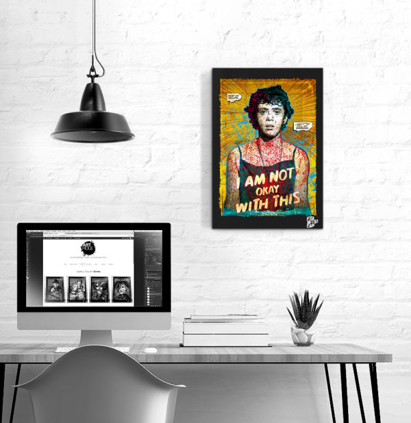 Sydney Novak from I Am Not Ok With This Tv Series Pop Art Original handmade Poster Artwork. 2020 Netflix Sophia Lillis Wyatt Oleff Stanley Barber