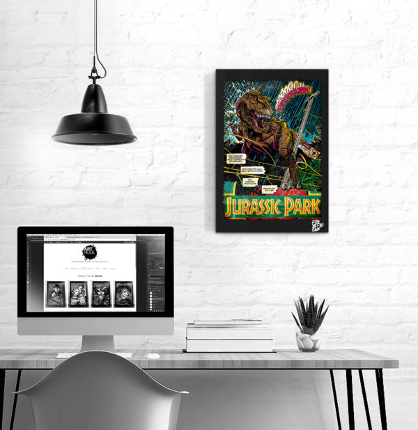 T-Rex from Jurassic Park Movie Pop Art Original handmade Poster Artwork. 1990 Steven Spielberg Movie Tyrannosaurus Rex, Velociraptor, 1993 Cult Movie