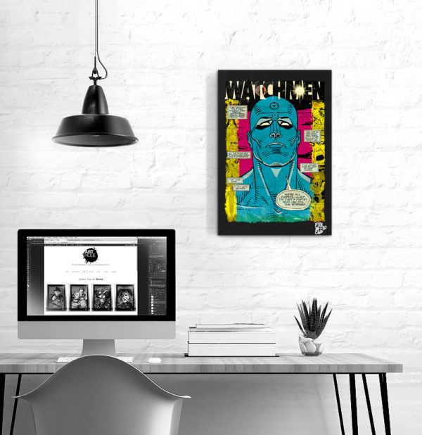 Doctor Manhattan from Watchmen Pop Art Original handmade Poster Artwork. Cult comic book, Movie 1980 Alan Moore, Dave Gibbons, Dr. Manhattan, Rorschach