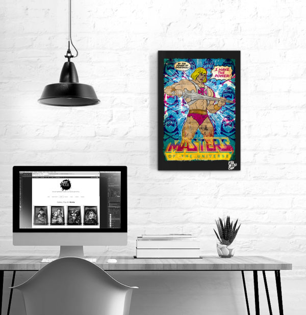 He-Man and the Masters of the Universe Pop Art Original handmade Poster Artwork. Cult comic book, Movie 1981, 1983 Skeletor, Grayskull, Motu, Action Figures, Toy Mattel, Dominatori dell'Universo