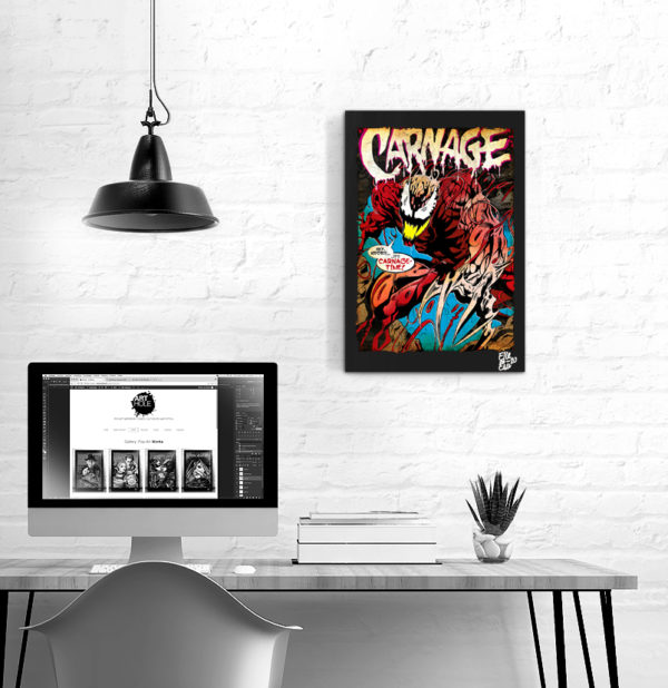Carnage Marvel Comics Pop Art Original handmade Poster Artwork. Cult comic book, Movie 1980 1990 2021 Amazing Spider-Man, Venom, Eddie Brock, Cletus Kasady