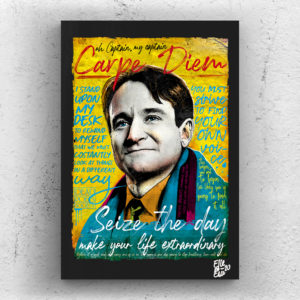 Robin Williams, John Keating from Dead Poets Society 1989 movie Pop Art Original handmade Poster Artwork Cult Movie. Peter Weir, Cult 90s, Carpe Diem, Seize the Day, Alternative Poster.