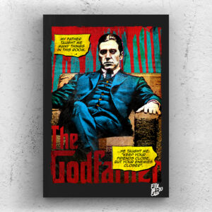 Michael Corleone (Al Pacino) from The Godfather Part 2 movie Pop Art Original handmade Poster Artwork Cult Movie. Crime movie, Francis Ford Coppola, Marlon Brando, Robert De Niro. Alternative Poster, 1974, 70s