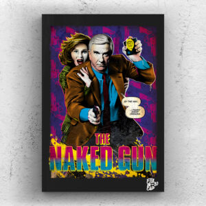 Frank Drebin (Leslie Nielsen) from The Naked Gun movie Pop Art Original handmade Poster Artwork Cult Movie. Crime movie, Arplane, Humour, Zucker, Abrahams. Alternative Poster, 1988, 80s, 90s