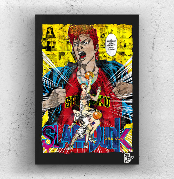 Hanamichi Sakuragi from Slam Dunk anime manga Pop Art Original handmade Poster Artwork Cult Movie. Takehiko Inohue, Basketball, Shohoku, Rukawa Kaede, Haruko Akagi. Alternative Poster, 1990, 90s