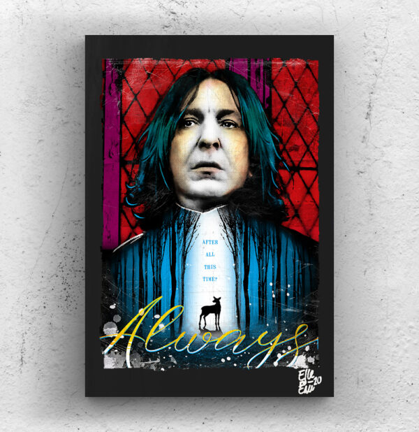 Severus Snape (Alan Rickman) from Harry Potter movies Pop Art Original handmade Poster Artwork Cult Movie. Severus Piton, Slytherin, Deathly Hallows, Horcrux, Death Eaters, Always. Alternative Poster, 2001, 2011, 2000s, 90s