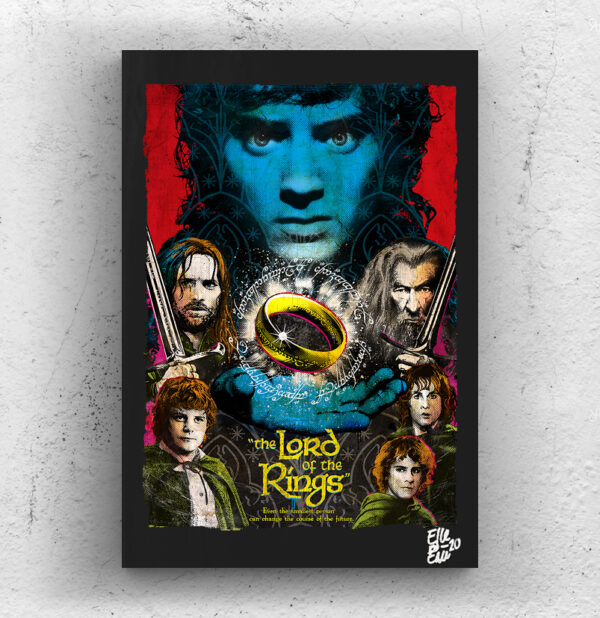 The Lord of the Rings movie Pop Art Original handmade Poster Artwork Cult Film. Peter Jackson, Tolkien, Frodo Baggins, Aragorn, Gandalf, Sauron, The Ring, Fantasy, Epic, 2001 movie.