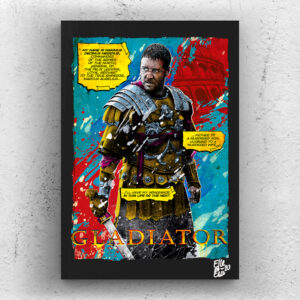 Maximus Decimus Meridius from Gladiator movie Pop Art Original handmade Poster Artwork Cult Film. Russell Crowe, Ridley Scott, Action, 2000, 90s