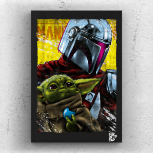 The Mandalorian and Grogu from The Mandalorian Tv Series. Pop Art Original handmade Poster Artwork Cult Movie. Star Wars, Pedro Pascal, The Child, Baby Yoda, Mando, Din Djarin, Skywalker, Jedi. Alternative Poster, Sci-Fi 2020