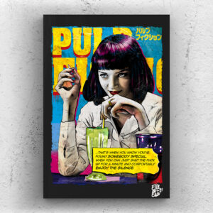 Mia Wallace from Pulp Fiction movie Pop Art Original handmade Poster Artwork Cult Film. Quentin Tarantino, Uma Thurman, Samuel L. Jackson, John Travolta, Vincent Vega, Marcellus Wallace, Jules Winnfield, 1994, 90s, Reservoir Dogs, Kill Bill